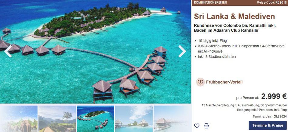 Kombireisen Sri Lanka Rundreise und Baden Malediven 2022 all inclusive Urlaub Frühjahr Ostern 2022 incl. Flug von Berge & Meer bei uns mit Beratung buchen