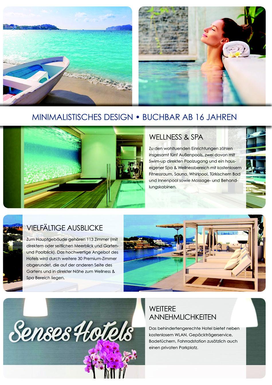 jetzt hier Wellness-Urlaub im neuen adults-only 4*-Komforthotel auf Mallorca  buchen, Senses Santa Ponsa Erwachsenen Hotel mit Flug günstig buchen