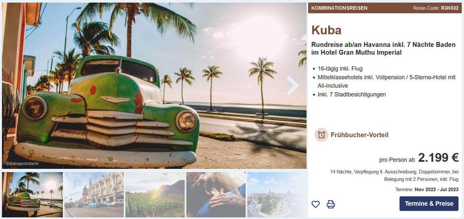 Kuba Badeurlaub all inclusive Kuba Reisen 2021 mit Flug sowie Kombiurlaub Kuba Rundreise und Baden 2021 ab 1.799,- €