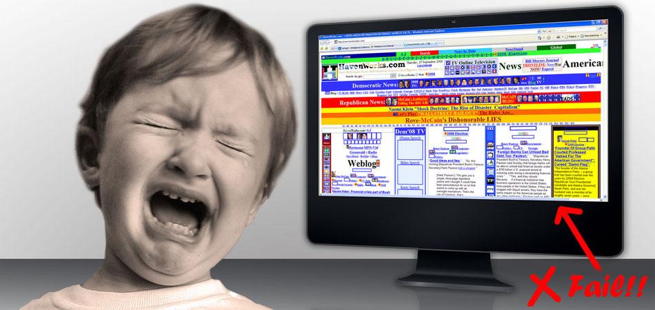 Imagen Ejemplo de un mal diseño web