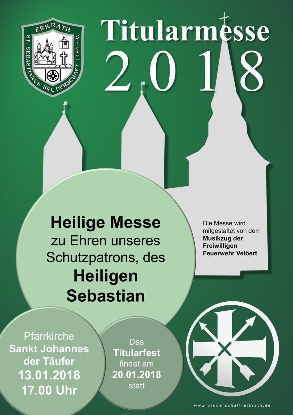 Titularmesse 2018, 13.01.2018, 17.00 Uhr, Pfarrkirche Sankt Johannes der Täufer.