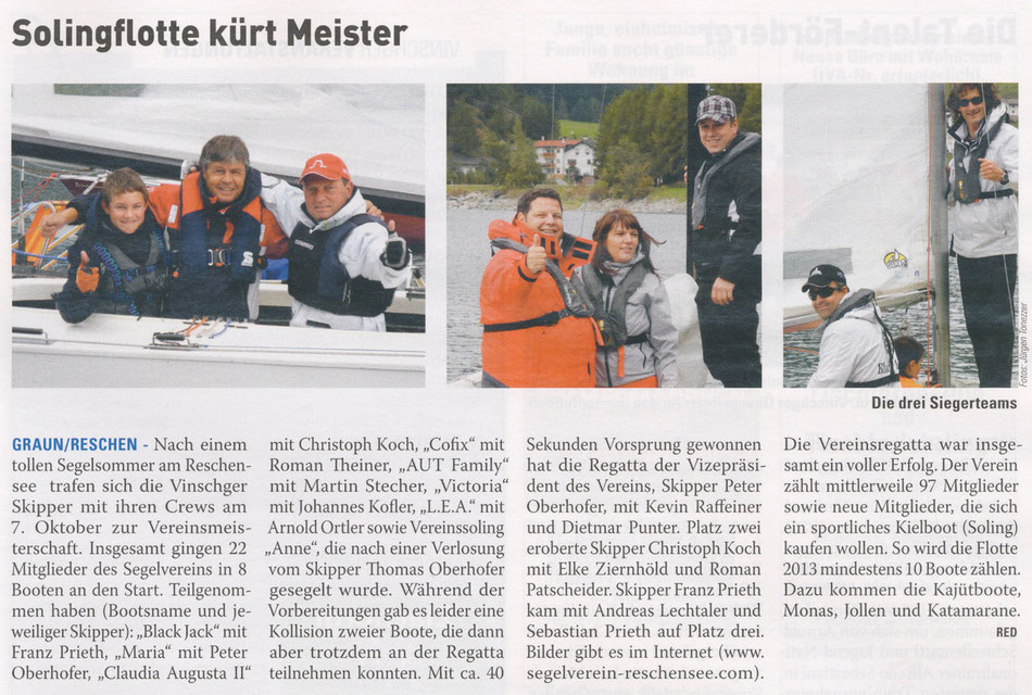 Ausgabe der Vinschger vom Freitag, 19.10.2012