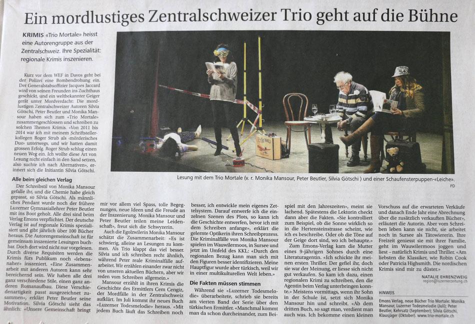trio mortale, Luzerner Zeitung, Krimi, Emons, Monika Mansour, silvia Götschi, Peter Beutler