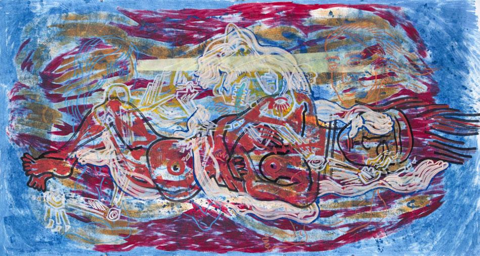 MAYA GELFMAN, The sleep,Acrylic and industrial markers on aquarelle paper, 2014, 150x280cm