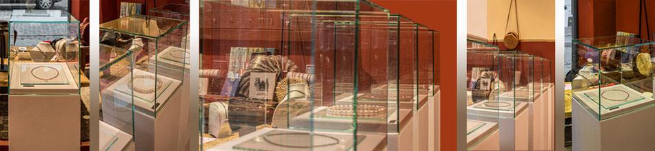 Glashauben für Schmuckwaren, Juwelier vitrinen, Glas kleben