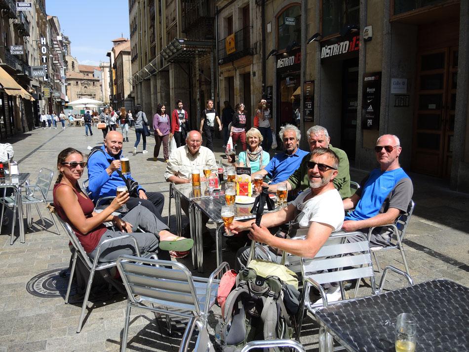 Angekommen in Salamanca. Pilger aus Belgien, Frankreich und Holland.