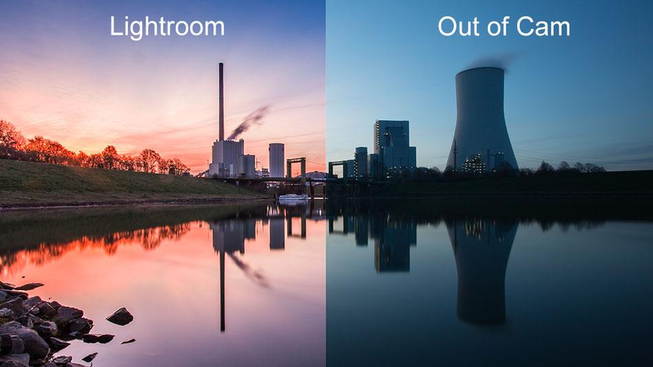 Vergleich Foto Adobe Lightroom optimiert und Foto direkt aus der Kamera