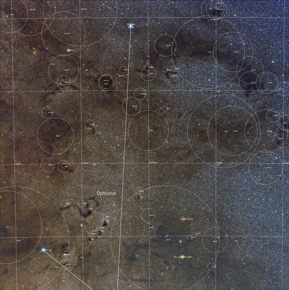 Nebulosas oscuras y La Serpiente en Ofiuco Anotada