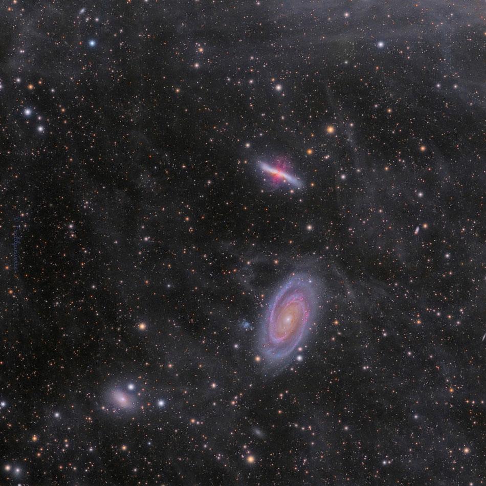Galaxias M81, M82 y la Nebulosa de Flujo Integrada (IFN)