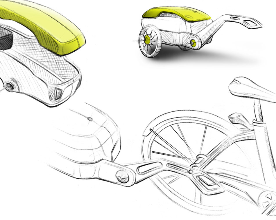 Innovative bike trailer with solar panel// Ideation Sketches
