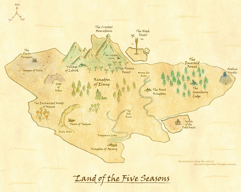 map of the land of the five seasons