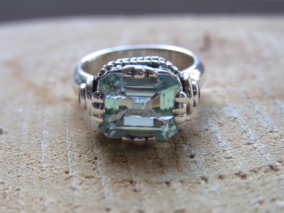 Statement Ring aus Silber mit großem Aquamarin und Blautopas