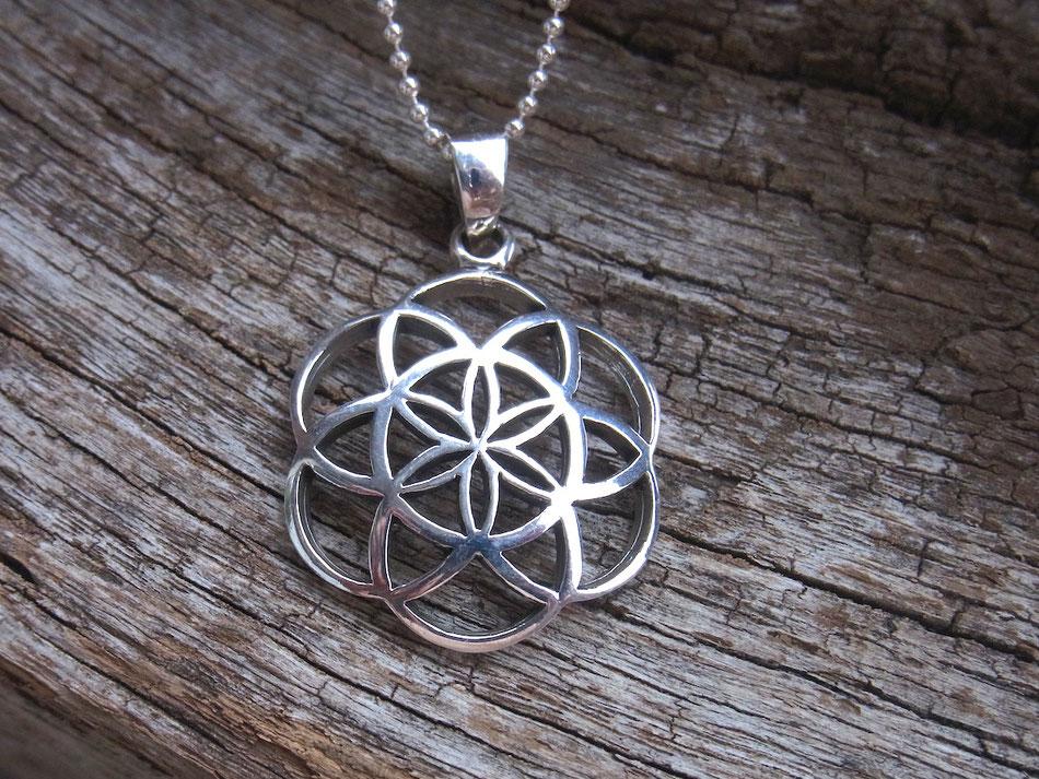 Blume des Lebens oder Same des Lebens Anhänger mit Kette aus Silber
