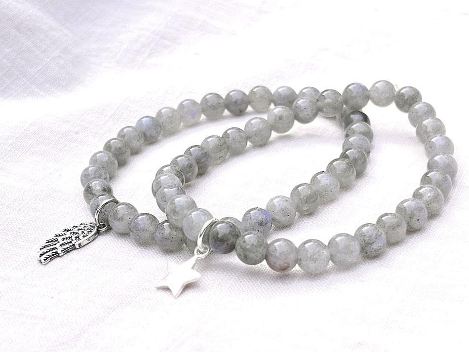 Edelsteinarmband mit grünen Labradorit Kugeln und Spirale aus Silber