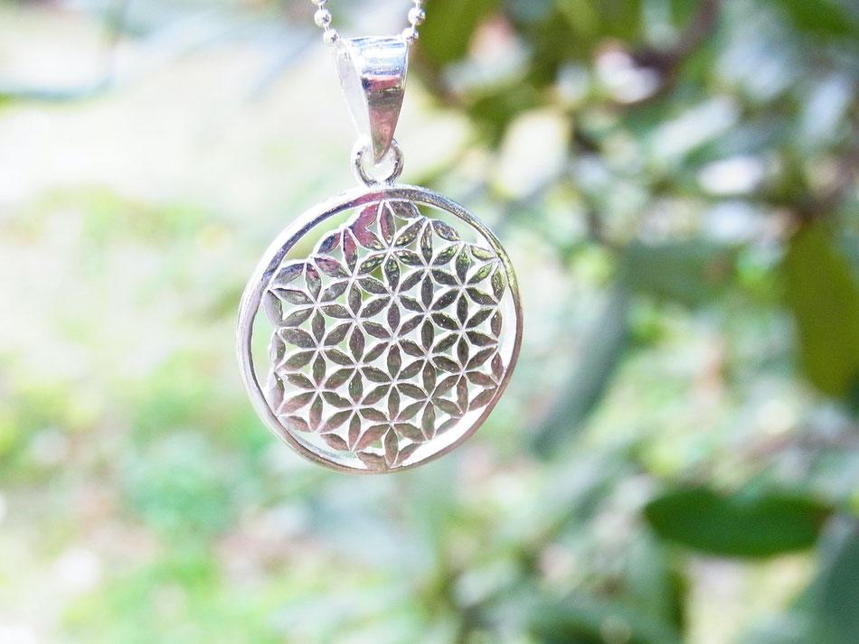 Kugelkette mit rundem Blume des Lebens Symbolanhänger aus Silber