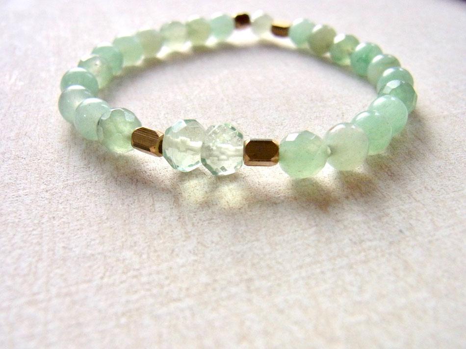 Edelsteinarmband aus hellgrünen Aventurin und grünen Fluorit Steinen