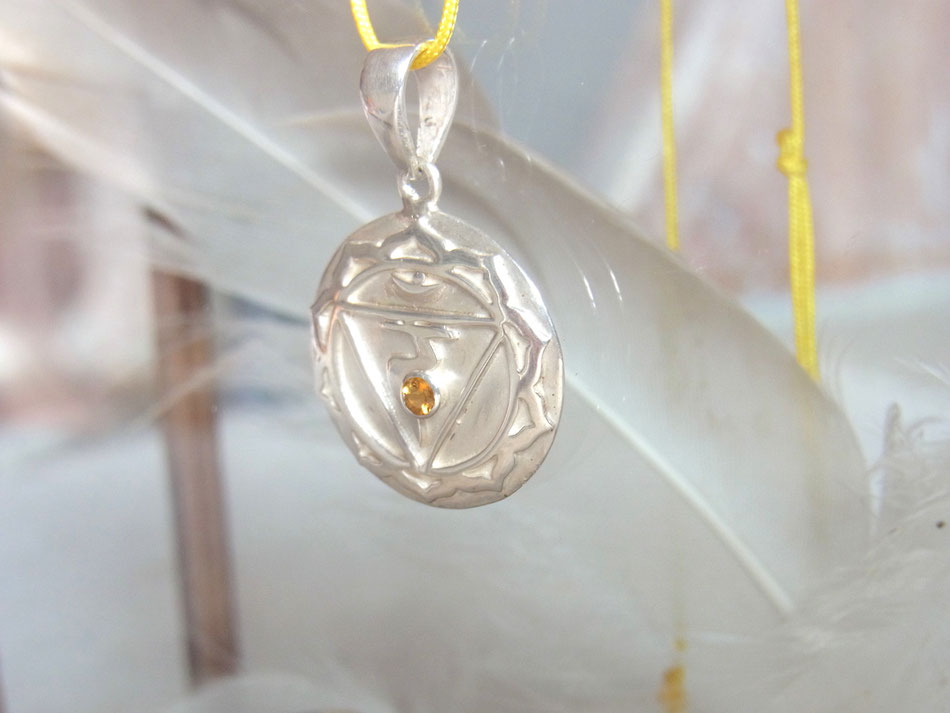 Gelbes Nylonband mit Solarplexus Chakra in Silber mit Citrin