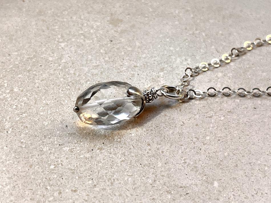 Silberkette mit Bergkristall Anhänger