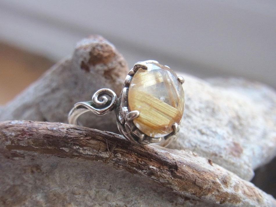 Rutilquarz Ring aus Sterling Silber