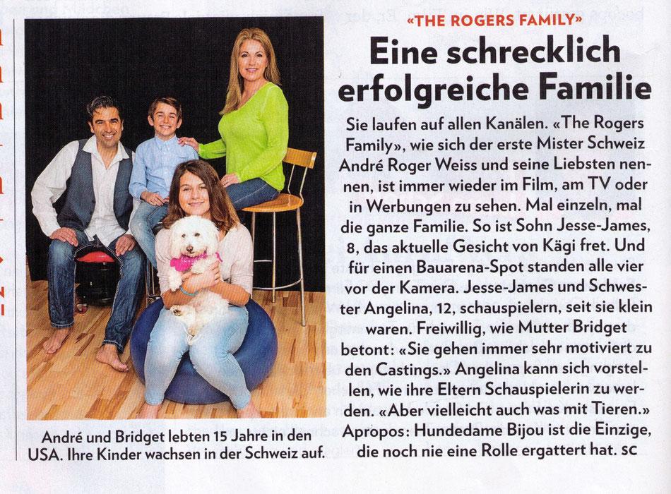 """Sie laufen auf allen Kanälen. """"The Rogers Family"""" wie sich der erste Mister-Schweiz André Roger und seine Liebsten nennen, ist immer wieder im Film, am TV oder in Werbungen zu sehen. Mal Einzel, mal die ganze Familie."""