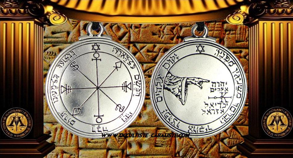 Médaille pentacle de la lune sceau secret du Roi Salomon, www.occultiste-cabaliste.com