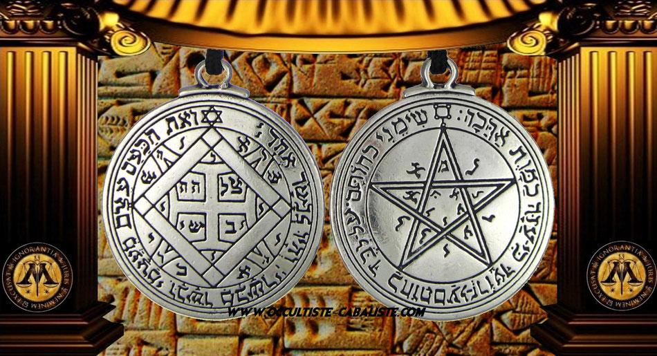 Médaille pentacle de Vénus sceau secret du Roi Salomon, www.occultiste-cabaliste.com