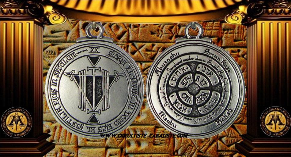 Médaille pentacle d'honneur et richesse sceau secret du Roi Salomon, www.occultiste-cabaliste.com