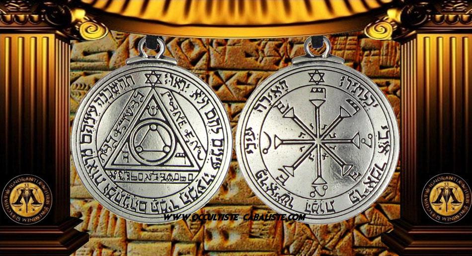 Médaille pentacle du soleil sceau secret du Roi Salomon, www.occultiste-cabaliste.com