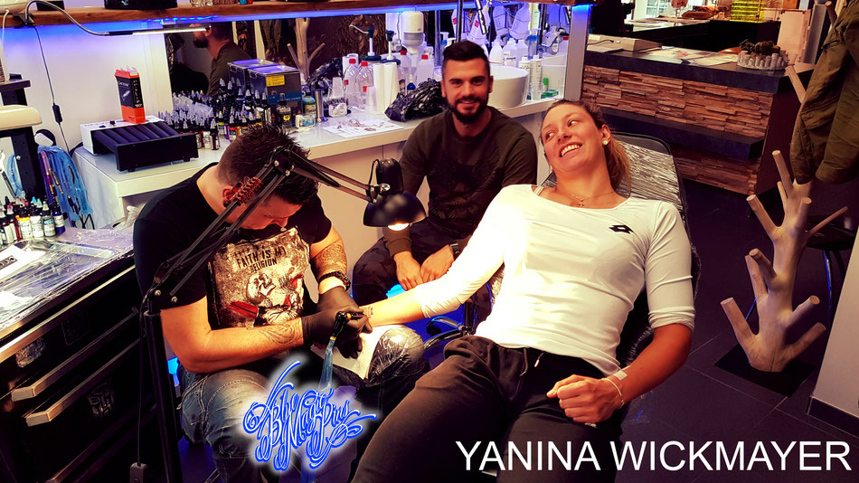 Yanina Wickmayer in Blue Magic Pins celebrity tattoo wrist pols shop studio belgium genk