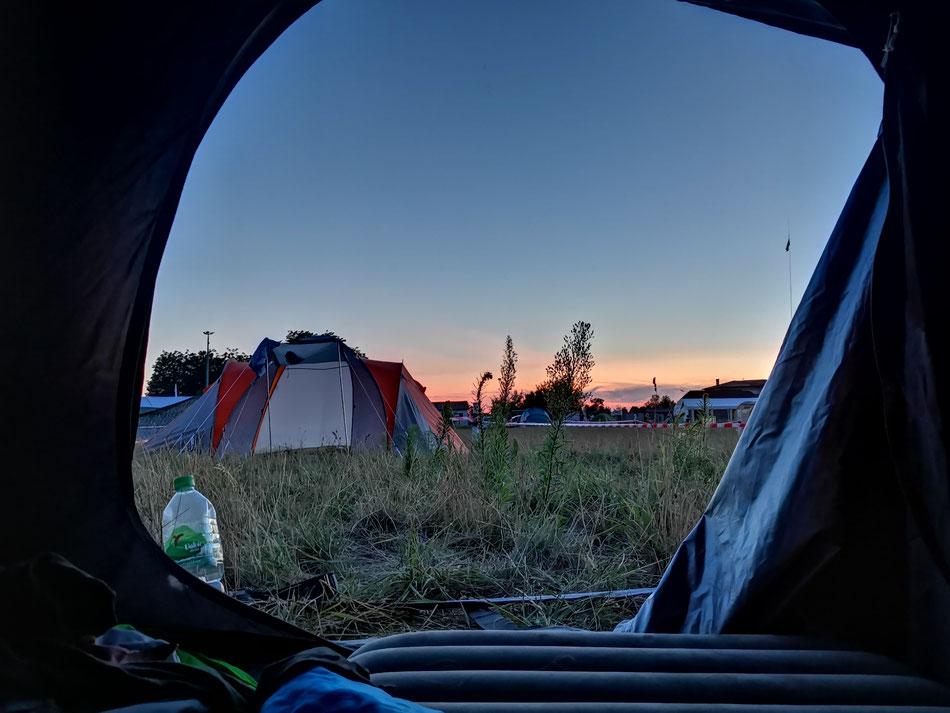 Der Sonnenuntergang am ersten Abend