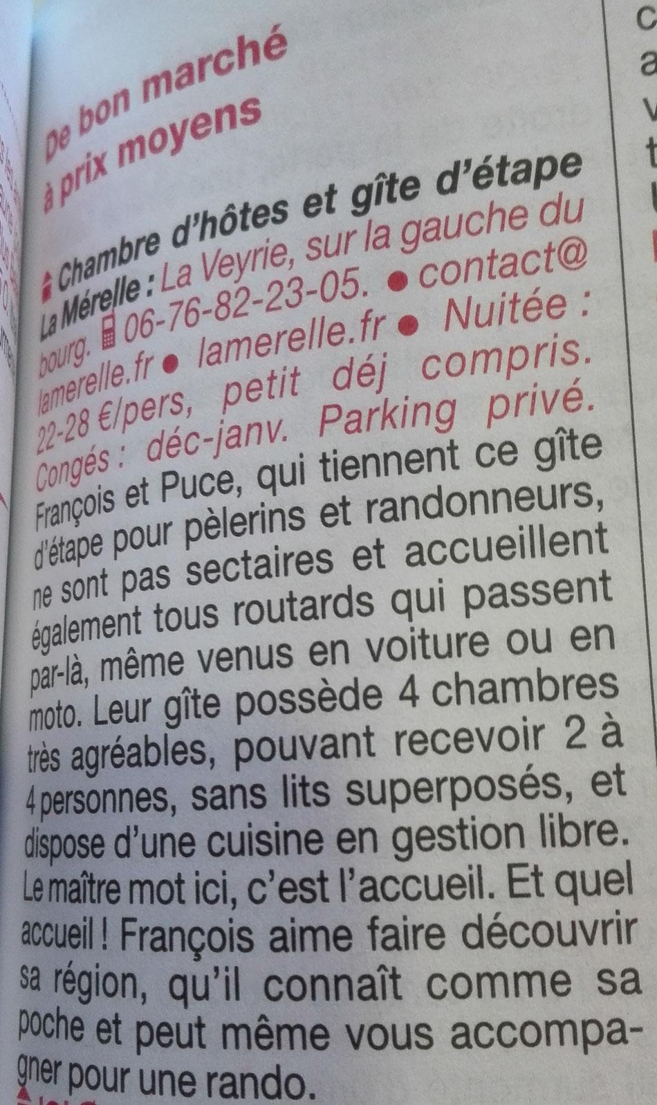Le Routard recommande La Mérelle de Collonges-la-Rouge dans son Guide Limousin. La Mérelle est un gîte d'étape et accueil pèlerin de grand confort, sur La Voie de Rocamadour en Limousin et Haut-Quercy, Chemin vers Compostelle, et sur le GR 480