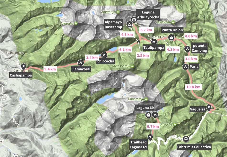 Karte Santa Cruz Trek