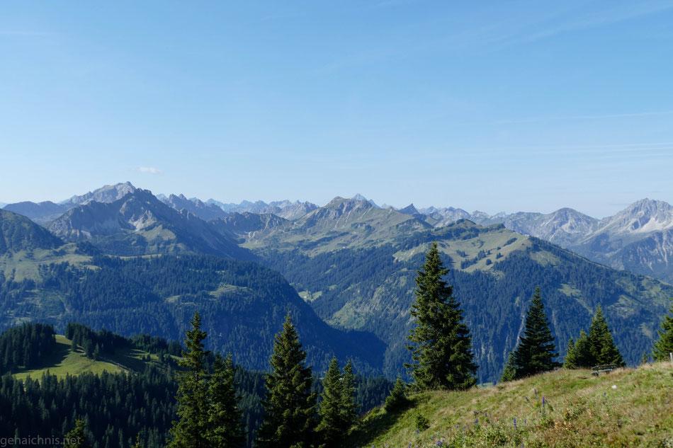 Neunerköpfle und der Weg, den ich vorgestern über die Strindenalpe und Edenbachalpe Richtung Haldensee gewandert bin
