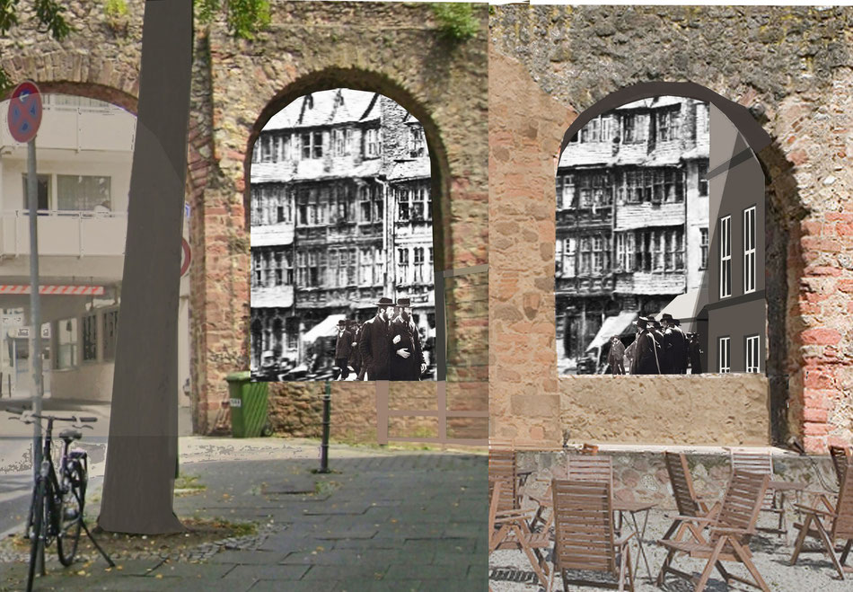 Das jüdische Leben in Frankfurts Judengasse um 1875 wird in den Nischen der Staufermauer sichtbar. Die unmittelbar an die Staufermauer angrenzende Judengasse wir erstmalig wieder im Stadtbild sichtbar.im