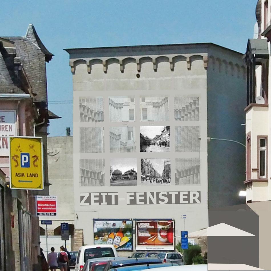 Der Bunker in Frankfurt-Höchst wird zur Ausstellungswand. Bilder von Höchster verlorenen Bauten werden als Stadtreperatur und zur Verschönerung eingesetzt.