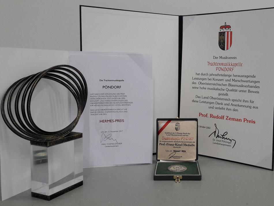 Hermes Preis, Prof. Franz Kinzl Medaille, Prof. Rudolf Zeman Preis, TMK Pöndorf