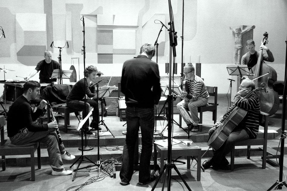 Tonafunahmen, Oktober 2014. Philippe Tondre, Franz Bach, Emily Körner, Radoslaw Pallarz, Jakob Lustig, Bernhard Lörcher, Felix von Tippelskirch (v.l.)