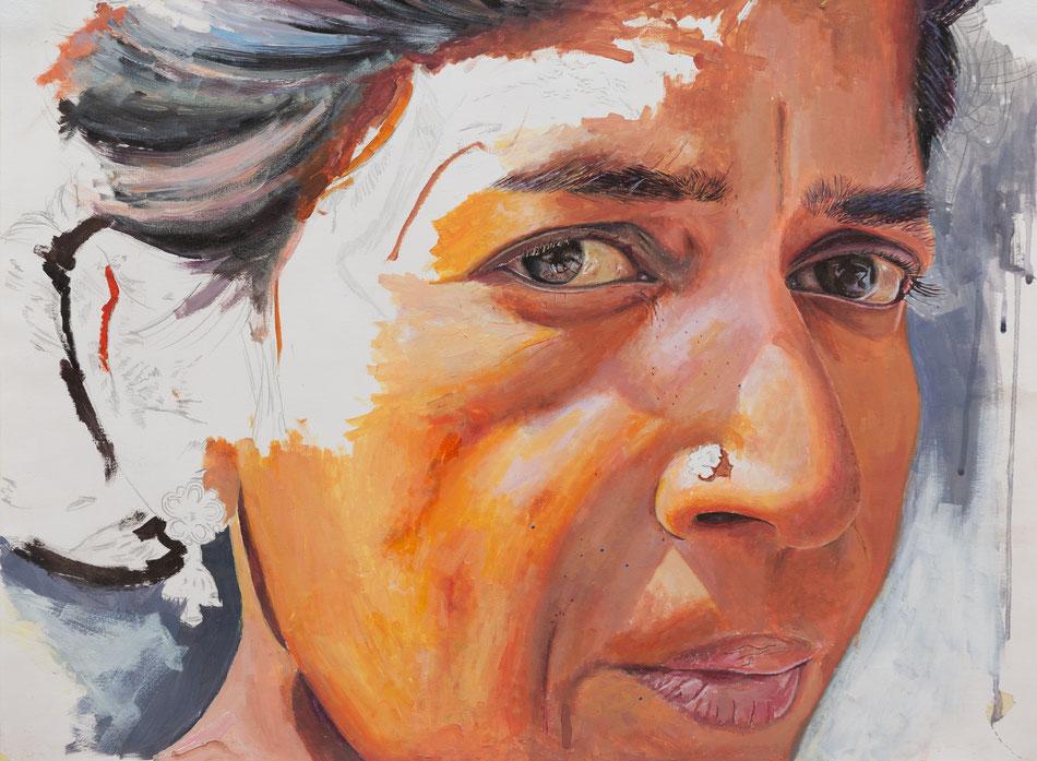 """""""La sconosciuta"""" di Saleh Lo, 2018, Acrilico su carta, 42x56cm - Ritratto di una donna che Saleh ha incontrato in India. È nata per strada e lì ha vissuto per 35 anni con la sua famiglia"""
