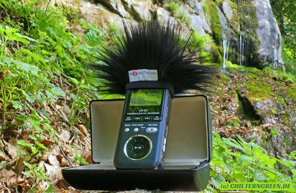 """Tascam DR-07-Digitalrekorder mit Windschutz über den Stereo-Mikrophonen am """"Fallender Bach"""" im """"Rodensteiner Burgwald""""."""