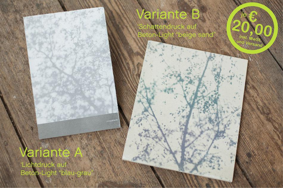 Varianten-Beispiele Lichtdruck und Schattendruck auf Beton-Light
