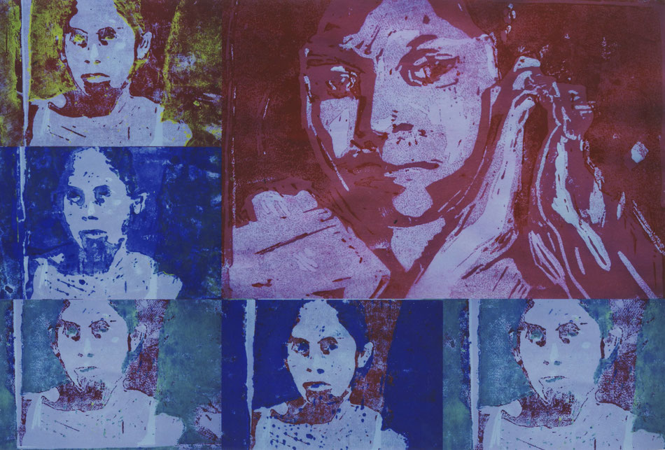 Linoldruckarbeiten - Prototyp für einen Portraitkurs