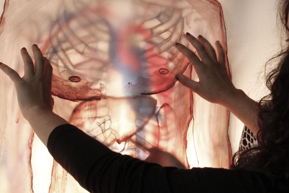 Bilder: Teilnehmerarbeiten Mensch in Scheiben, Haut, inneres Organsystem, Skelett