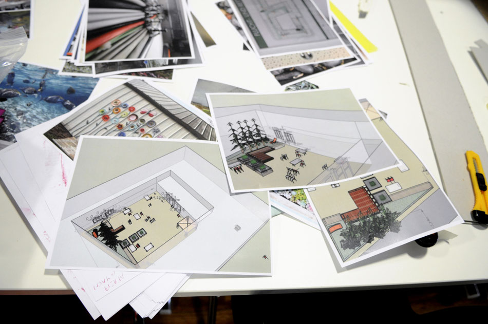 Bilder: Teilnehmerarbeiten, Entwürfe Farbskalen und Innenhofkonzepte