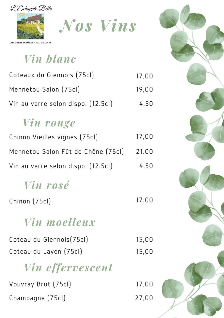 Menu vins du Val de Loire pour la table d'hôtes
