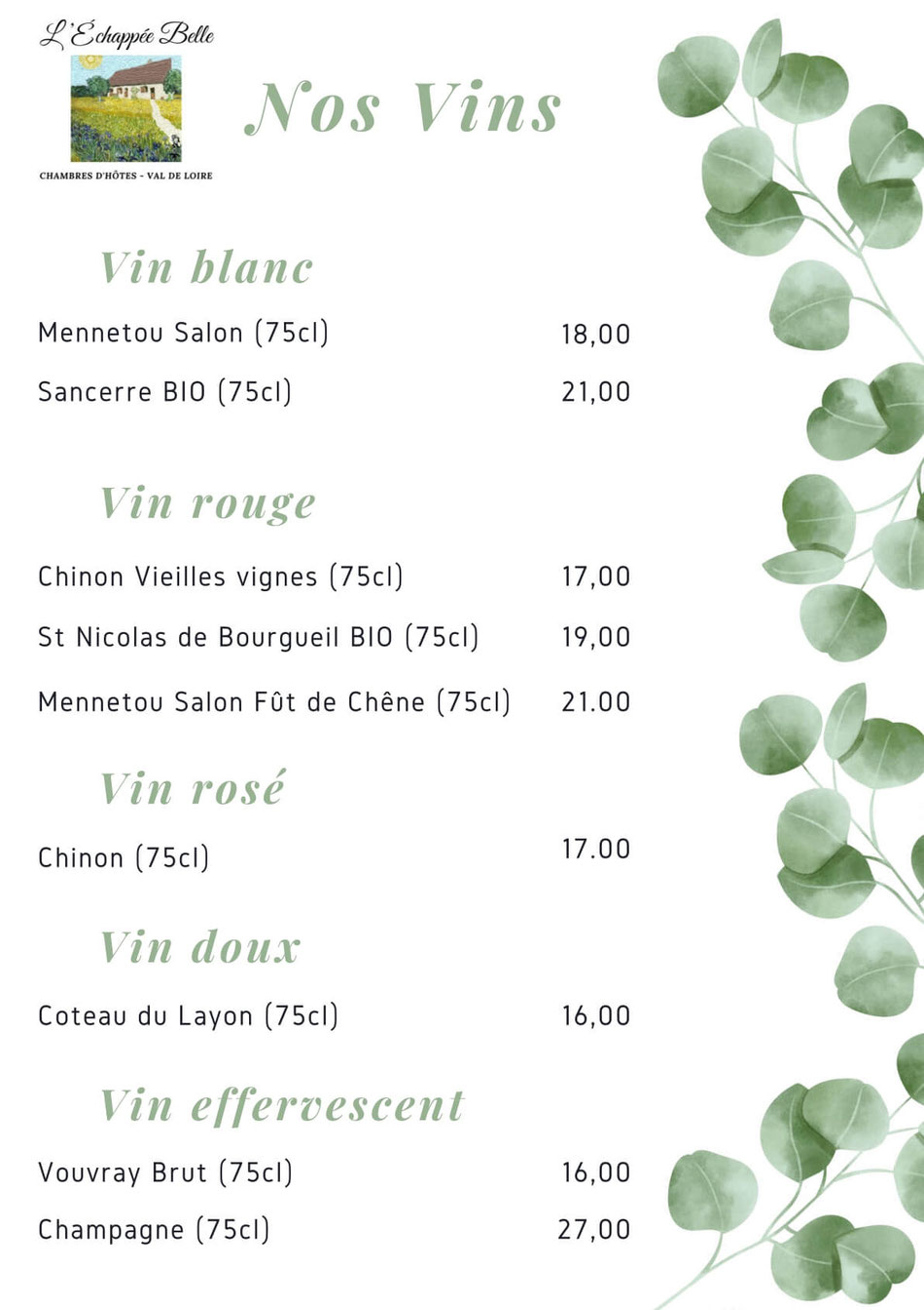 Loire-vallei wijnen Menu