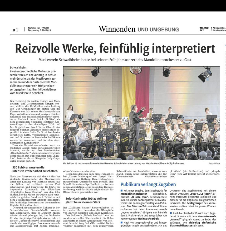 Zeitungsartikel der Winnender Zeitung vom 09.05.2019