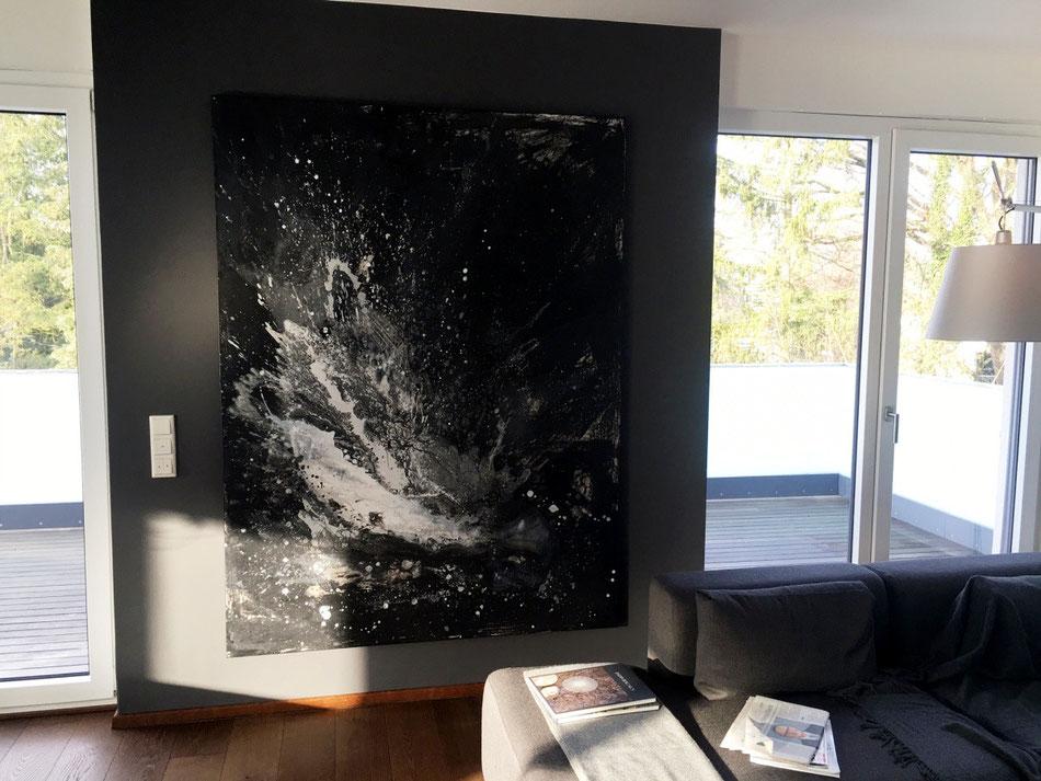 schwarz weißes abstraktes gemälde - Art Gedankenexplosion