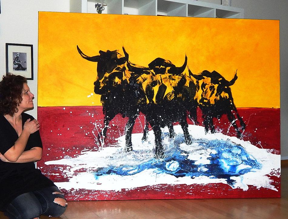 Stierbild gemalt gelb rot