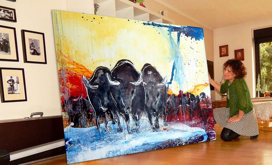 abstraktes Gemälde groß stiere Stierherde