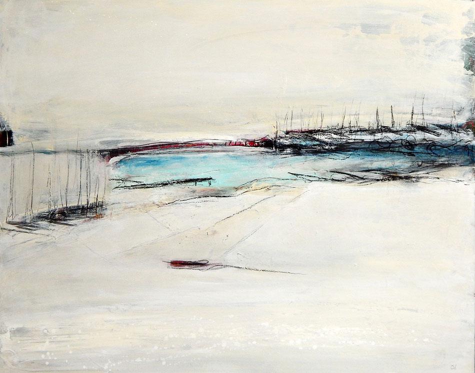 abstraktes weißes beige Bild online kaufen Galerie